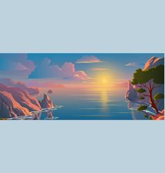 beautiful scenery on top mountain seaside vector image
