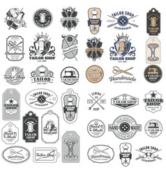 Big set of vintage tailor badges stickers vector
