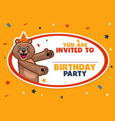 birthday invitation with cute brown bear vector image