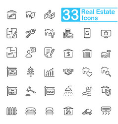 Black real estate line icons vector