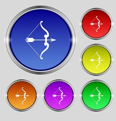 Bow and arrow icon sign Round symbol on bright vector