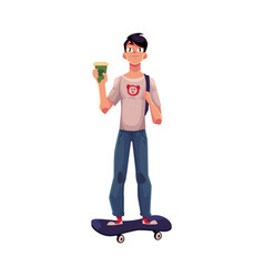 boy man standing on skateboard longboard with vector image