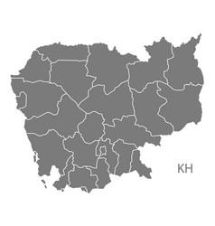 cambodia provinces map grey vector image
