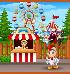 cartoon amusement park vector image