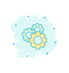Cartoon gear icon in comic style cog wheel vector
