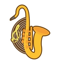 Cartoon saxophone musical instrument wind vector
