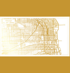 chicago illinois city map in retro style in vector image