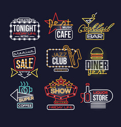 Colorful glowing neon signboards set retro light vector