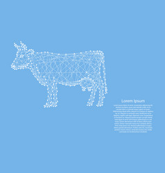 cow standing from abstract futuristic polygonal vector image