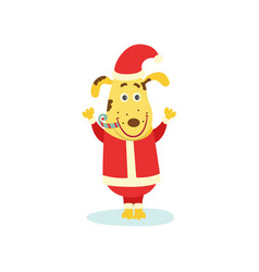 cute funny puppy dog character in santa suit vector image