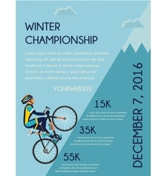 Cycling competition poster cyclist in bicycle vector