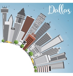 Dallas Skyline with Gray Buildings vector