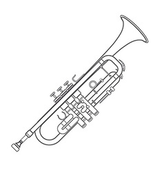 Dark monochrome contour trumpet wind instrument vector