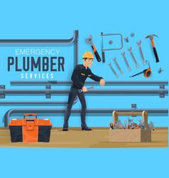 Emergency plumbing service pipeline plumber vector