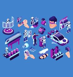 Futuristic technologies icon set vector