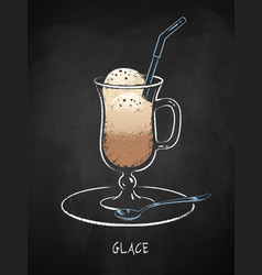 glace coffee cup isolated on black chalkboard vector image