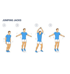 Guy doing jumping jacks home workout exercise vector
