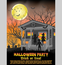 halloween kids costume party in front house vector image
