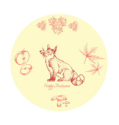 Hand drawn fox with autumn fruits and plants vector