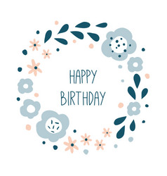 happy birthday round floral wreath vector image