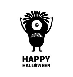 Happy halloween monster black silhouette cute vector