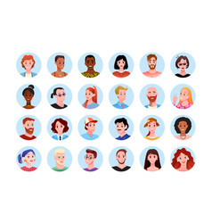 happy people round portrait avatar for social vector image