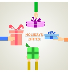 Holidays gifts vector image