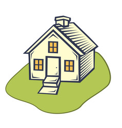 house flat icon house with a green lawn vector image
