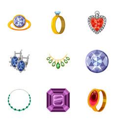 imitation jewelry icons set cartoon style vector image