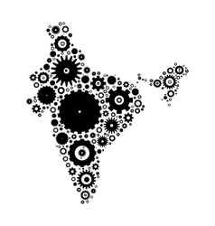 India map silhouette mosaic of cogs and gears vector
