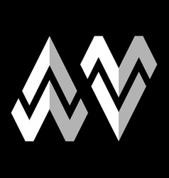 Initial letter aw and mv logo template with arrow vector