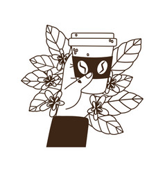 International day coffee hand with takeaway vector