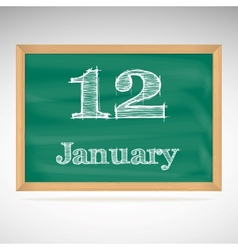 January 12 inscription in chalk on a blackboard vector