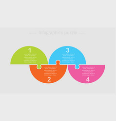 jigsaw puzzle half circle info graphic 4 steps vector image