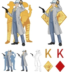 King of diamonds caucasian police chief and people vector image