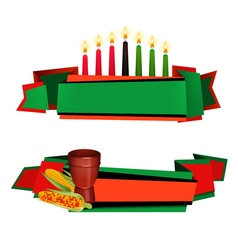 Kwanzaa Ribbon 2 Colorful Banners Set vector