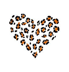 Leopard print skin in the shape of a heart vector