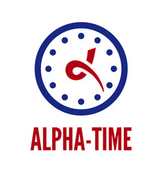 Letter alpha and clock vector