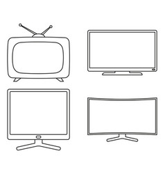 line art black and white modern tv set vector image