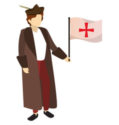 Man christopher columbus and flag with cross vector