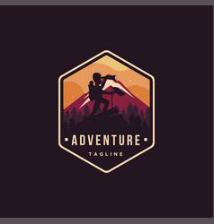 man on peak nature outdoor adventure logo vector image