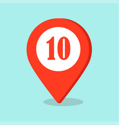 map pointer location icon with number ten sign vector image