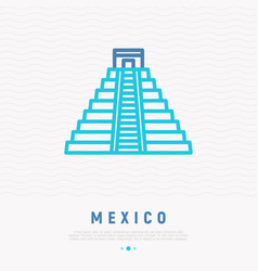 Mayan pyramid thin line icon vector