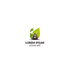 monkey fun green leaf creative logo design vector image
