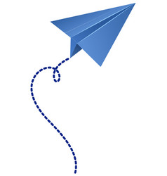 Origami airplane in blue color vector