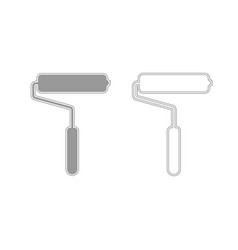 Paint roller grey set icon vector