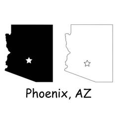 Phoenix arizona az state border usa map vector