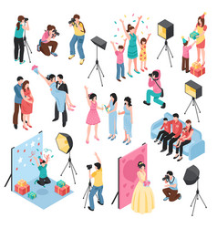 Photographer isometric set vector