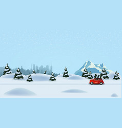 pine winter forest silhouette city snowy mountain vector image