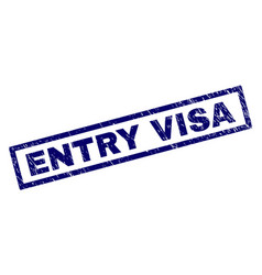 rectangle grunge entry visa stamp vector image